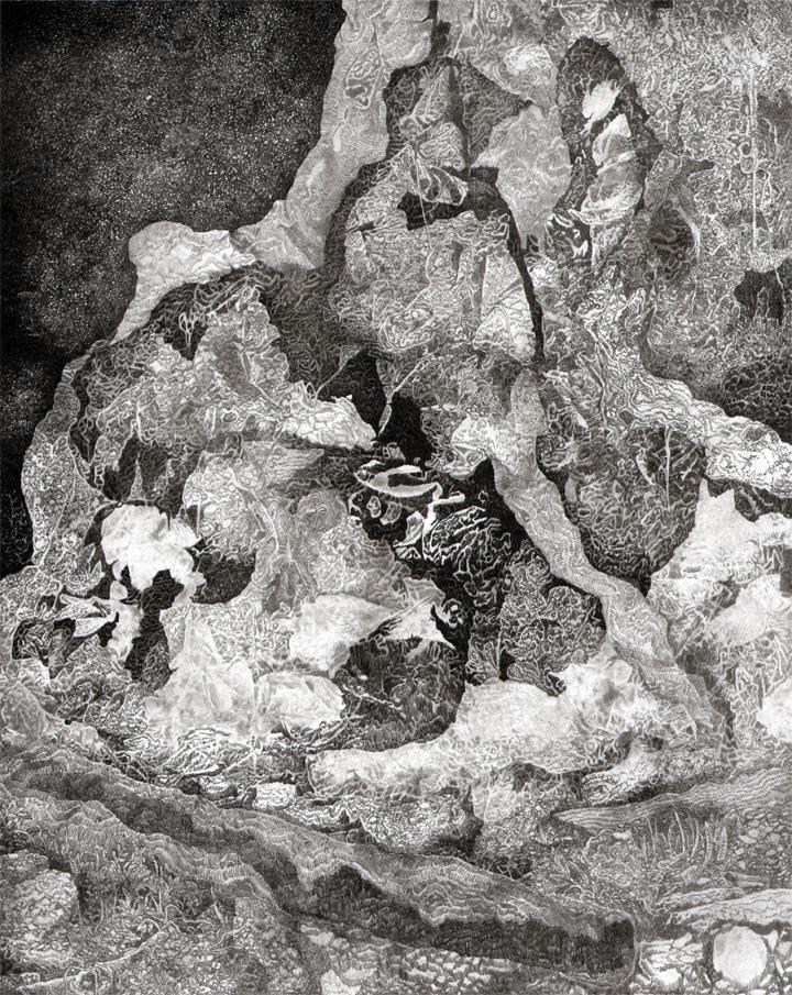 Lieux affaiblis 4, encres sur papier, 30 x 24cm, 2016